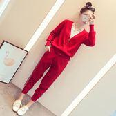 小蚊子女時髦套韓版顯瘦九分褲氣質時尚針織兩件套吾本良品