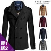 Free Shop 買一送二(上衣+圍巾) 英倫風修身版型雙排扣毛呢大衣外套 skinny顯瘦slim fit設計【QAADF7272】
