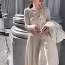 性感洋裝 V領針織洋裝女收腰緊身氣質內搭打底毛衣裙子  港仔HS