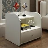 床頭櫃 時尚田園床頭柜白色皮質邊幾 現代簡約北歐實木儲物柜美式 【快速出貨】