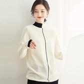 羊毛針織衫-半高領撞色不規則保暖長袖女毛衣4色73uj17【巴黎精品】
