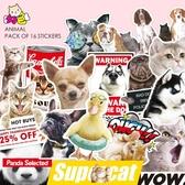 個性可愛貓狗動物貼紙潮流惡搞筆記本電腦行李箱防水拉桿箱子貼畫