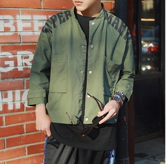 FINDSENSE品牌 男 時尚潮流 休閒 寬鬆 軍裝 七分袖 大口袋 鈕扣 小