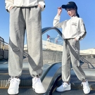女童運動褲春秋洋氣新款兒童褲子寬鬆外穿闊腿春季休閒衛褲中大童 韓語空間