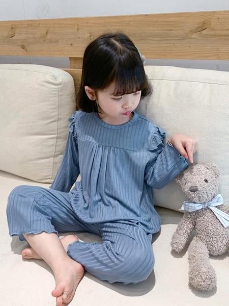 兒童睡衣 莫代爾兒童春秋薄款女童家居服寶寶夏季空調服小女孩寬松睡衣套裝 檸檬衣舍11