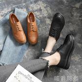 牛津鞋 厚底鬆糕鞋夏季新款韓版百搭學生小皮鞋英倫原宿風中跟單鞋女 唯伊時尚