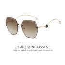 歐美精品太陽眼鏡 漸層茶 無邊框太陽眼鏡 淑女墨鏡 珍珠飾品墨鏡 抗UV400