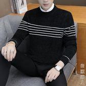 新款冬季男士毛衣假兩件線衣圓領韓版修身潮流打底衫襯衫領套頭針織衫 街頭潮人