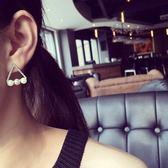 Qmigirl 韓版鏤空鑲鑽幾何三角形珍珠鑽球耳環【QG1839】