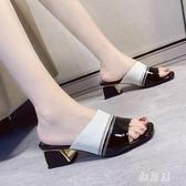 拖鞋 魚嘴女外穿涼拖2020新款夏季韓版羅馬高跟鞋粗跟百搭網紅女鞋 OO12828【雅居屋】