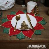 圣誕節圣誕紅冬青葉餐墊/紅配綠餐墊隔熱墊