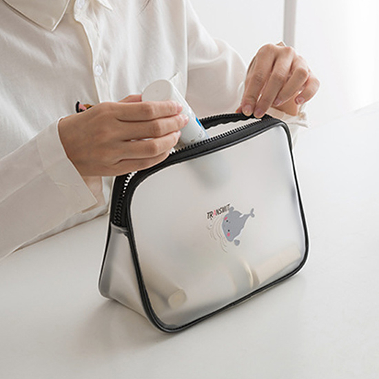 收納包 大容量 化妝包 防水包 果凍包 三角 洗漱包 透明袋 手提包 (B款)透明化妝包【Z115】慢思行