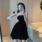 抹胸洋裝 夏季收腰顯瘦絲絨氣質抹胸連身裙女溫柔風內搭A字裙子-Ballet朵朵