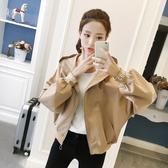 新款韓版小個子女春秋休閒bf風寬鬆學生短款蝙蝠袖棒球服外套   極有家