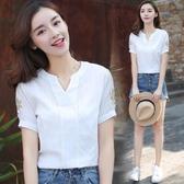 短袖棉麻上衣 V領襯衫女 大尺碼寬鬆顯瘦遮肚 刺繡T恤 亞麻上衣