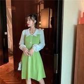 時尚休閒連身裙XL-4XL秋裝上新紐扣小香風針織衫胖mm打底顯瘦連衣裙R01-856
