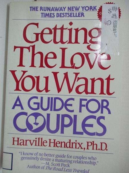 【書寶二手書T9/兩性關係_AYC】Getting the love you want : a guide for couples_Harville Hendrix.
