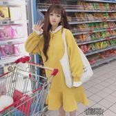加絨洋裝秋季韓版中長款加絨拼接荷葉領寬鬆顯瘦衛衣洋裝長裙女 街頭布衣