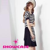 【SHOWCASE】休閒條紋前開衩拼接細褶雪紡襬洋裝(黑)