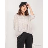 CANTWO個性開襟式滿版印花襯衫-白底黑心色