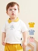 男童短袖T恤 嬰兒翻領T恤春秋短袖polo衫寶寶衣服上衣童裝男童T體恤洋氣夏裝女 童趣