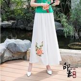 民族風女裝 復古繡花雙層雪紡長褲 女大闊腿褲裙休閒褲 萬聖節鉅惠