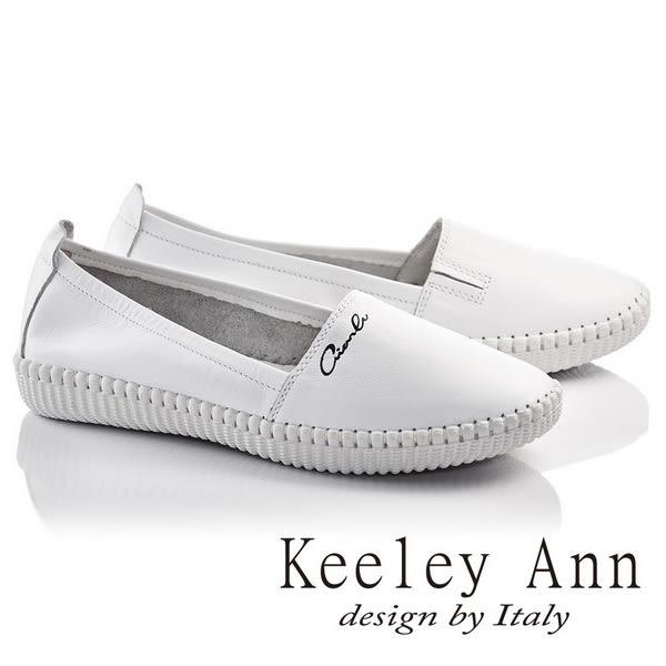★零碼出清★Keeley Ann全真皮素面質感舒適輕便休閒鞋(白)