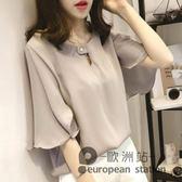 雪紡衫/短袖女新款韓版百搭大碼喇叭袖短款超仙上衣「歐洲站」