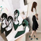 一字扣涼鞋女尖頭細跟OL單鞋綠色中跟高跟鞋 盯目家