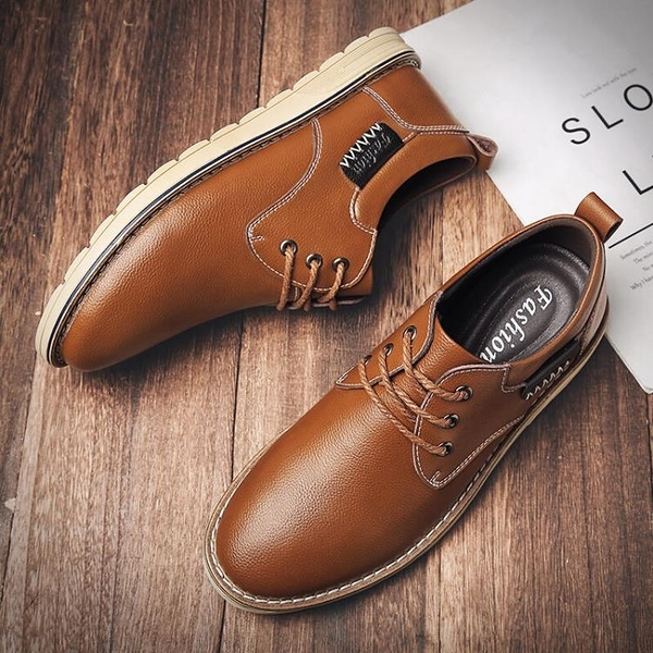 【Charm Beauty】2021新款 男士 商務正裝 休閑 小皮鞋 男青年 真皮 英倫風 百搭鞋子 男潮鞋
