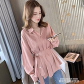 polo衫 秋季女裝網紅設計感小眾輕熟長袖收腰襯衫女復古港味襯衣T恤上衣 新品