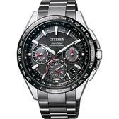 贈鱷魚皮錶帶 CITIZEN 星辰 光動能鈦GPS衛星對時錶-黑/43.5mm CC9015-62E