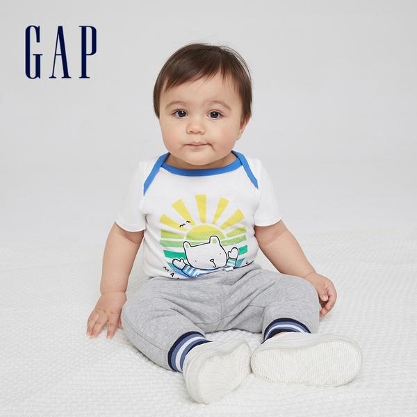Gap嬰兒 布萊納系列 純棉小熊印花連身衣 786416-白色