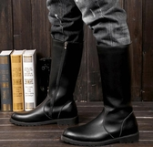 馬丁靴 男女皮靴男鞋COSPLAY動漫游戲騎馬靴儀仗隊長靴馬丁靴子黑色【快速出貨八折鉅惠】