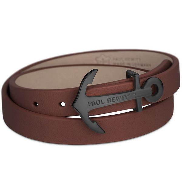 【台南 時代鐘錶 PAUL HEWITT】德國時尚 NORTH BOUND 船錨手環 黑鋼雙圈咖啡皮革手環
