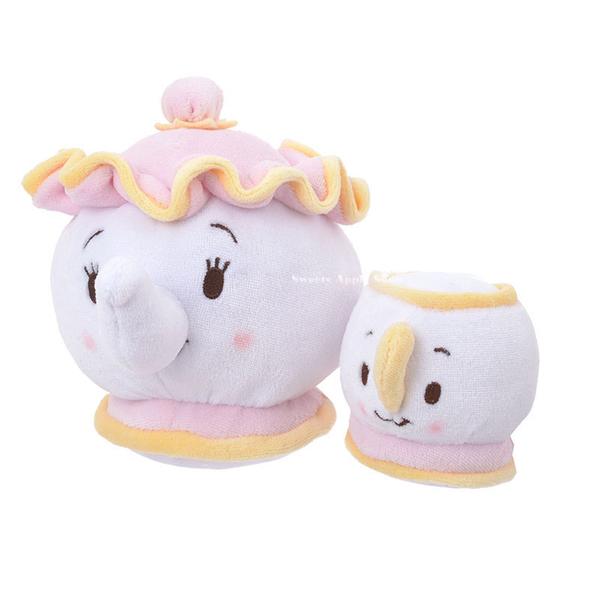 日本 Disney Store 迪士尼商店 限定 ufufy 美女與野獸 茶壺媽媽&阿齊 香氛玩偶娃娃組 ( S・mini )