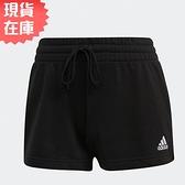 【現貨】Adidas Essentials Regular 女裝 短褲 休閒 兩側開衩 抽繩 棉 黑【運動世界】GM5601