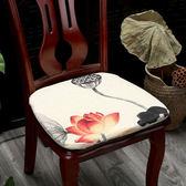 【年終大促】新中式簡約棉麻餐椅墊歐式坐墊紅木椅子墊加厚椅座墊帶綁帶可拆洗