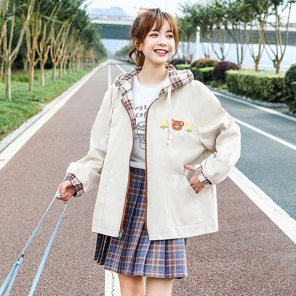秋季小熊夾克外套 百搭時尚女生外套 格子女士外套 兩面穿潮流女生外套 簡約女外套韓版外套