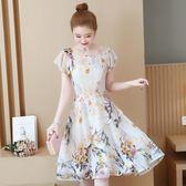 連身裙 氣質印花雪紡連身裙夏季2019新款大碼女裝洋氣時髦減齡收腰裙子 生活主義