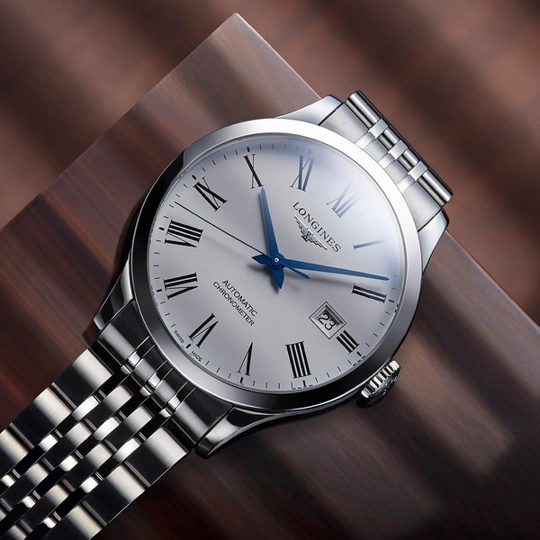 LONGINES浪琴錶款 Record 廣告款開創者L28214116天文台認證矽游絲機械對錶白40mm