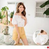 《AB10392-》高含棉整件刺繡小花圖樣澎袖甜美上衣 OB嚴選