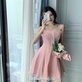 洋氣生日禮服裙粉法式仙女吊帶連身裙21新款夏小個子短款收腰顯瘦禮服 阿卡娜
