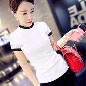 短袖T恤女春季半高領打底衫2019新款韓版夏修身時尚短款百搭上衣
