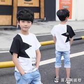 男童套裝 新款夏季韓版兒童休閒帥氣潮衣中大童洋氣兩件式T恤牛仔潮 DR17332【男人與流行】