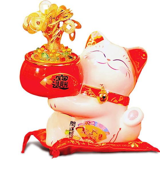 【金石工坊】發財樹貓(高16CM)搖錢樹-七彩LED燈 招財貓 開店送禮 開業禮品 陶瓷開運擺飾 撲滿