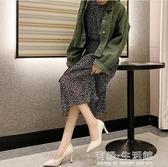 網紅單鞋女新款夏季時尚尖頭淺口黑色高跟鞋女細跟職業女鞋子 有緣生活館