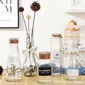 小清新簡約透明花瓶創意玻璃客廳擺件裝飾品水培插花干花花器 IGO  LannaS