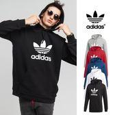 【GT】Adidas Originals 黑灰藍紅白 連帽T恤 純棉 運動 休閒 長袖 帽衫 愛迪達 三葉草 基本款 Logo