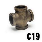 特力屋工業風-十字型四通(六分-古銅)